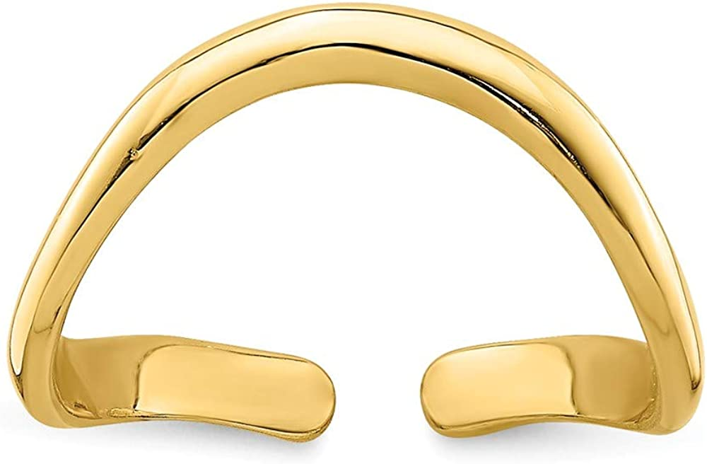 14k Gold Polished Adjustable Wave Toe Ring