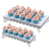 bakaji set 2 alzate alzatina porta dolci in metallo vassoio alzata cupcake muffin confettata wedding colore bianco 2 dimensioni