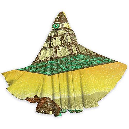 Rexing Erwachsene Cape Mantel Dreieck Pyramide Augen Dorf Unisex Mit Kapuze Mantel Mantel Hexe Robe Cape Lange Halloween Cosplay Party Mantel