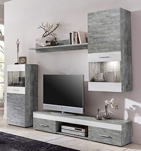 8.8.7.8.2938: Wohnwand in weiss grau-gecheckt mit Beleuchtung - Wohnzimmerschrank weiss grau-gecheckt mit Beleuchtung