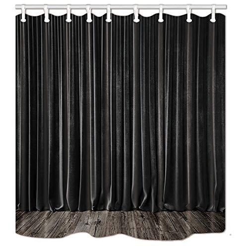 AdaCrazy Schwarzer Kinovorhang mit grauem Holzbrett Plank Duschvorhang 3D-Druck Wasserdicht beschichtetes Bad aus Polyestergewebe mit 12 Haken 71 Zoll