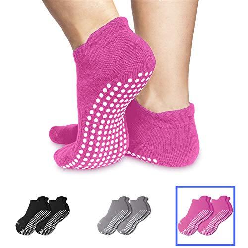 Skyba Anti Rutsch Socken Stoppersocken Noppensocken für Damen- Grips für Barre, Pilates, Yoga, Schwangerschaft, 2-paar Rosa, EU 37-39 (Herstellergröße: M)