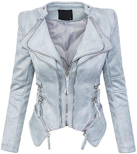 Rock Creek Selection Damen Designer Wildlederoptik Jacke D-307 [D-1909 Babyblau M]