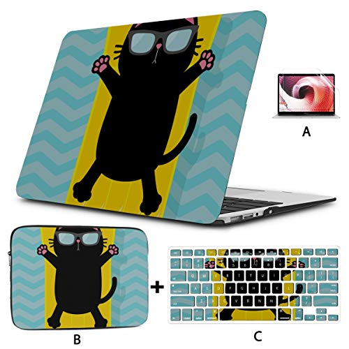 Macbook Air Protective Cover Cute Black Cat Set Macbook Pro Protective Case Hard Shell Mac Air 11'/13' Pro 13'/15'/16' With Notebook Sleeve Bag For Macbook 2008-2020 Version