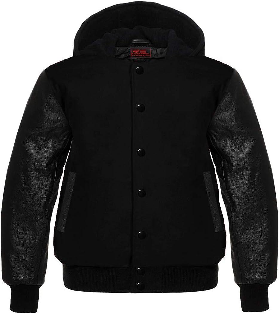 Varsity Hoodie Jacket for Baseball Letterman Bomber School Wool and Genuine Leather Sleeves