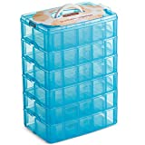 LifeSmart USA Stackable Storage Container Blue 60 Adjustable Compartments Compatible with Lego Dimensions Shopkins Littlest Pet Shop Arts and Crafts and More (Standard 6 Tier)