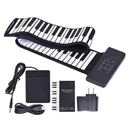 ClothHouse 88 Chiave Roll Up Piano Tastiera Elettronica, Portatile Altoparlante Incorporato Batteria agli Ioni di Litio da 1100 Ma O USB Alimentato, Supporto Midi out Funzioni di Ingresso Audio