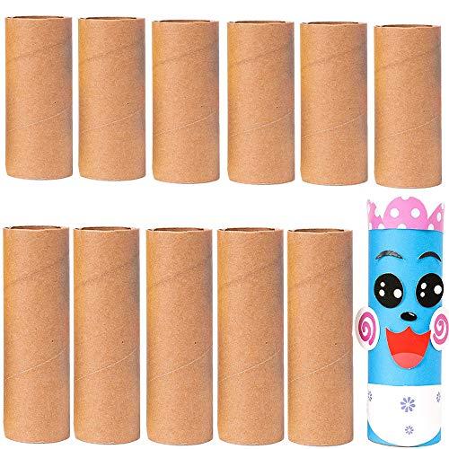 YGHH 12 Pièces Tube Carton, Tube en Carton Papier Kraft, Polyvalent Solide Papier Marron Tube en Carton de Papier pour Les Enfants, Le Bricolage, Les Projets Créatifs Faits à La Main (2 Style)