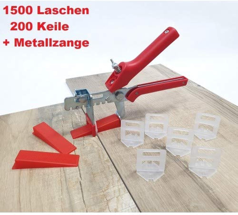 Fliesen Nivelliersystem Maxi-Set 2 mm 1500 Laschen 200 Keile  Zange Fliesenstärke 3-12 mm B07PC2MYHC   Moderne und stilvolle Mode