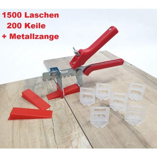Fliesen Nivelliersystem Rot Fliesenstärke 3-12 mm Maxi-Set 3 mm 1500 Laschen 200 Keile + Zange -Verlegesystem Fliesenverlegung Fliesenverlegehilfe Fliesenverlegesystem Fliesennivelliersystem