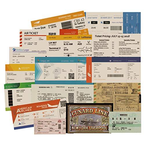 Etiqueta de check-in para equipaje de avión de aviación, tarjeta de embarque de la maleta de la etiqueta engomada retro para cuaderno de notas 55 piezas