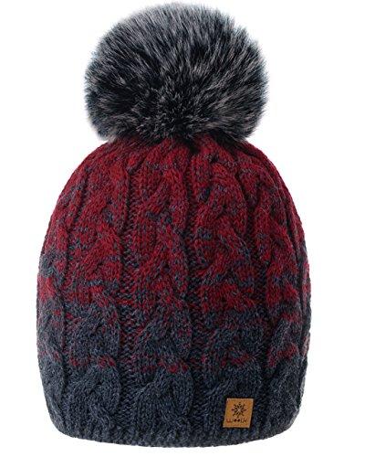 MFAZ Morefaz Ltd Damen Herren Winter Beanie Strickmütze Mütze Wurm Fleece Bommel Fashion SKI (Dark-Grey Burgundy)