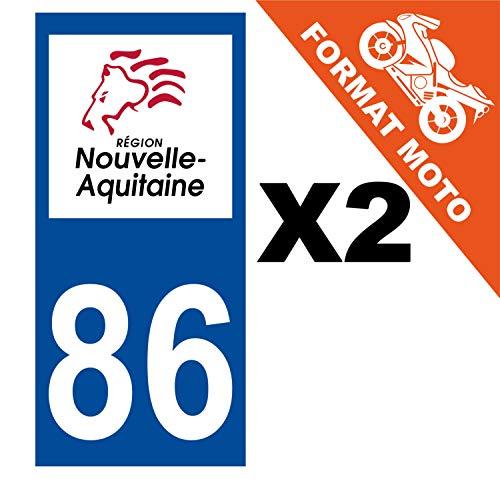 Supstick 2 stickers, nummerplaat, motorfiets Dept 86, aquarium, donkerblauw, vierkante hoeken