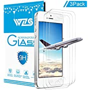 """WZS Screen Protector Compatible iPhone 5S / 5 / SE, [3-Pack] Premium Tempered Glass with 99.99% HD Clarity and 3D Touch Accuracy, iPhone 5S, 5, SE Tempered Glass Screen Protector [4"""" inch]"""