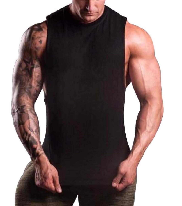 chenshiba-JP 男性フィット筋肉カットトレーニングタンクトップスボディービルTシャツ