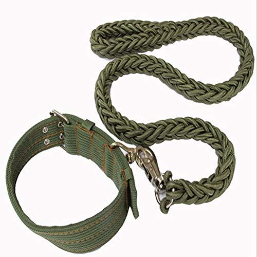 Egurs Hundeleine Halsbandset, 8 strengen, vlechtwerk, duurzaam nylon, hondenhalsband + hondenriem (120 cm) voor grote honden