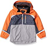 LONDON FOG Boys' Fleece Lined Windbreaker Jacket, Orange Colorblock, 5/6