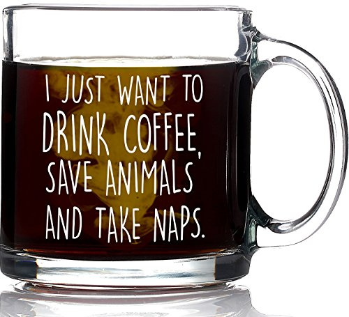 I Just Want to Drink Coffee Save Animals Take Naps Funny Coffee Mug 13oz - Unique Gift For Animal Lovers - Best Pet Lover Gifts - Veterinarian, Dog Mom, Cat Mom, Animal Rescue, Vet Tech