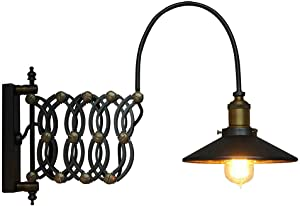 SUSUO Adjustable Wall Mounted Sconces Industrial Scissor Extendable Accordion Wall Sconces Loft Style Iron Art Wall Lamp (#1-Vintage Style)