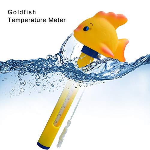 Jaybest Schwimmendes Thermometer im Cartoon-Stil mit Schnur für Schwimmbecken, bruchsicher, für Innen- und Außenpools, Spas, Whirlpools, Aquarien und Aquarien (Goldfisch)