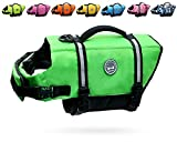 Vivaglory Ripstop Dog Life Vest, Reflective Dog Life Jackets with Enhanced Buoyancy & Rescue Handle for Swimming, Bright Green, L