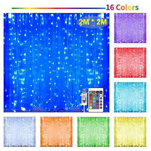 Hezbjiti Cortina de luces 200 LED 2m * 2m, 16 colores, 4 modos con mando a distancia y temporizador, para Navidad, fiestas, cumpleaños, bodas, salones, habitaciones infantiles