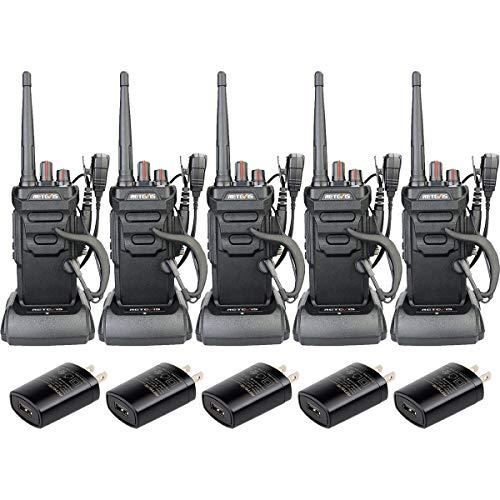 Retevis RT48 Waterproof Walkie Talkies Long Range,Rechargeable Two Way Radios for Adults,Emergency Alarm Handsfree 2 Way Radios with Earpiece(5 Pack)