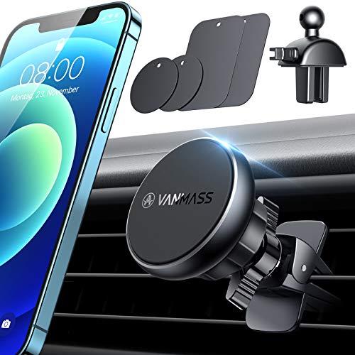 VANMASS Handyhalterung Auto Magnet Autohalterung【6 Extra Starke N52 Magnete】Universal Kit 2 Lüftungsclips 2.0 + 4 Metallplatte Kfz Handyhalterung 360° Drehbar Für Alle Handys iPhone Samsung Huawei LG