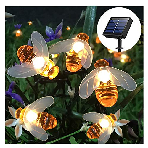 SEMILITS Solar String Lights 20LED Outdoor Waterproof Simulation Honey Bees...