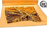 Essbares Blattgold mit DIN Zertifizierung, die 8x8 cm großen Goldblättchen eignen Sich unglaublich gut für Torten - Pralinen - Backen - Steaks & Sushi, 23 Karat 10 Stück - Made in Germany -