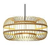 SHUANF Araña de bambú Tropical Iluminación Dormitorio de ratán de Mimbre Natural Pantallas de lámpara de Mimbre Hechas a Mano de Bricolaje Comedor Sala de Estar Bar Café Lámpara Colgante