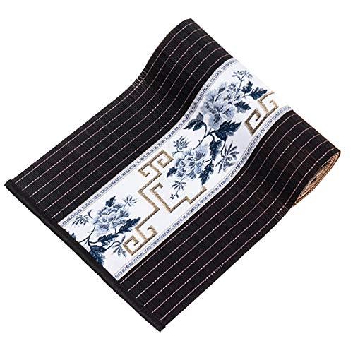 Corredor de Mesa Camino de Mesa de Bambú Vintage de Estilo Japonés Negro, Salón de Té Mantel de Decoración Rectangular para El Hogar, 300/250/210/180/150/120/100 cm de Largo