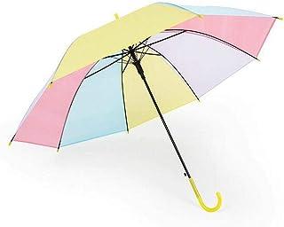 [ふーふうん] 透明ロングハンドル傘 子供傘 キッズ傘 女の子 男の子 ジャンプ傘 長傘 リフレクター付き レインボー かわいい傘 (イエロー)