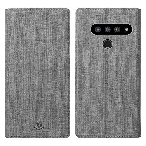 Simicoo LG V40 ThinQ Flip PU Leder Brieftasche Hülle Kartenhalter Ständer Magnetische Schutzhülle Klar Silikon TPU Full Body Stoßfest Tasche Dünn Wallet Hülle für LG V40 ThinQ, LG V50 ThinQ, grau
