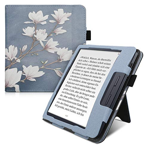 kwmobile Flip Hülle kompatibel mit Kobo Libra H2O - Handschlaufe - Cover Magnolien Taupe Weiß Blaugrau