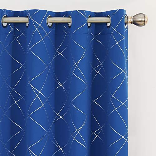 UMI by Amazon 2 Stück Fenstervorhang Blickdicht Gardine mit Ösen Verdunkelungsvorhang Indoor 245x140 cm Königsblau