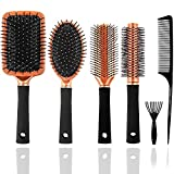 Mens Paddle Hair Brush Comb Set for Women and Men 6 Pcs Wet Hair Brushes for long Hair No Tangle...