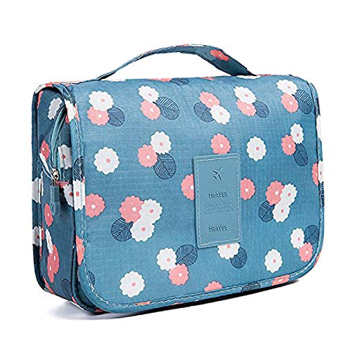 Travel Hanging Toiletry Bag Wash Bag Makeup Cosmetic Pouch Large Capacity Organiser Bag Portable Travel Toiletry Bag with Hook for Women Girls Kids Waterproof – (Blue Flower)