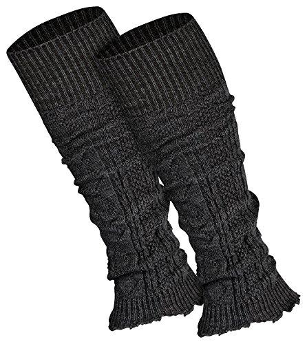 Piarini 1 Paar Bein Stulpen Damen - warme Beinstulpen Strick - anthrazit