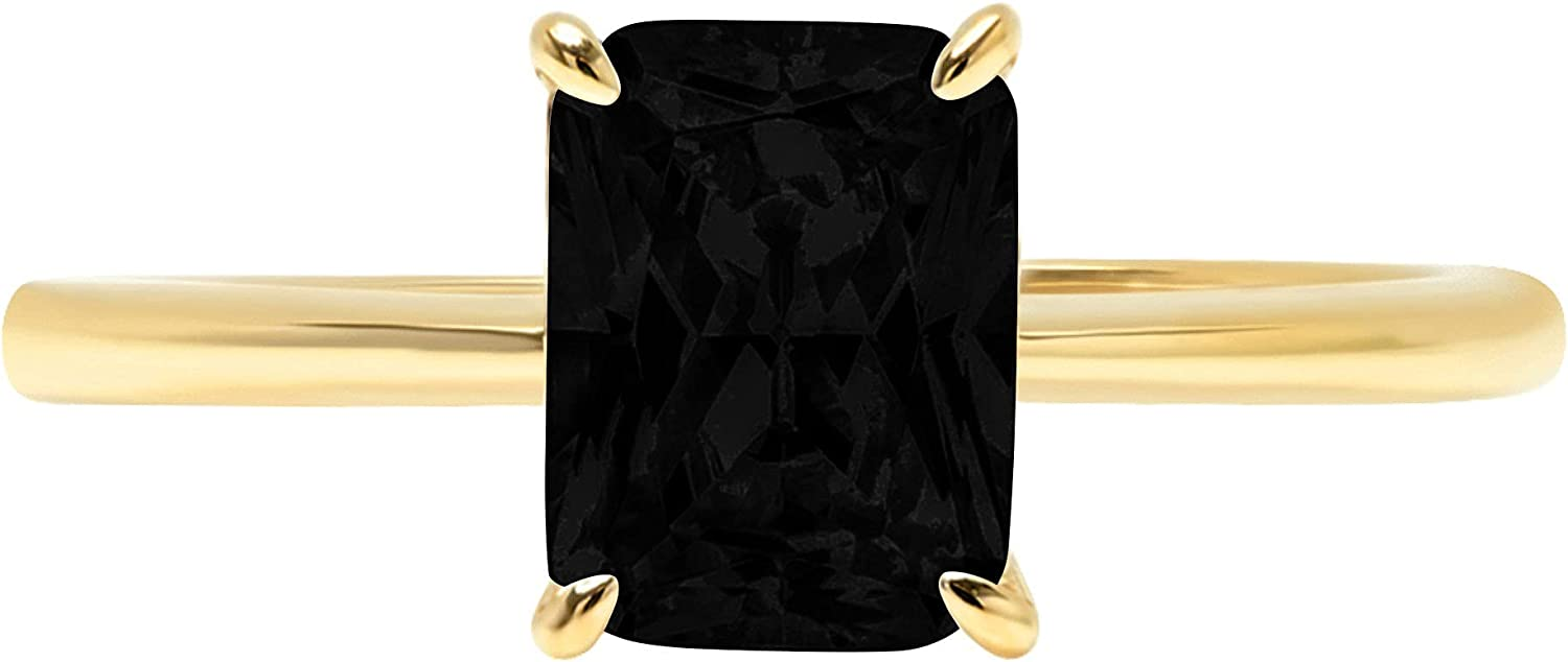 1.75ct Brilliant Radiant Cut Solitaire Flawless Genuine Natural Black Onyx Gemstone Ideal VVS1 4-Prong Engagement Wedding Bridal Promise Anniversary Designer Ring Solid 14k Yellow Gold for Women