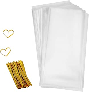 """Cellophane Goody Bags 200 PCS Clear Cello Treat Bags Party Favor Bags for Gift Bakery Cookies Candies Dessert with 200 PCS Metallic Twist Ties (4"""" by 9"""")"""