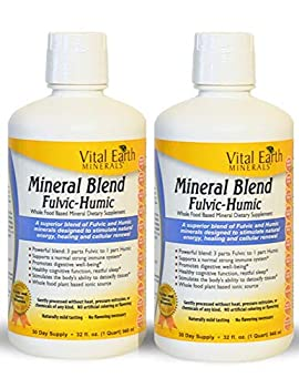 2 Pack of Vital Earth Minerals Mineral Blend Fulvic-Humic -32 Fl Oz - 1 Month Supply  Each  64 oz total- Vegan Liquid Ionic Trace Mineral Multimineral Supplement - Almost Tasteless - Plant Based