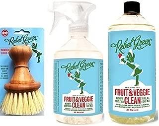 Rebel Green 17 oz. Produce Spray & 34 oz. Refill Bottle   FREE Veggie Scrubber Brush!