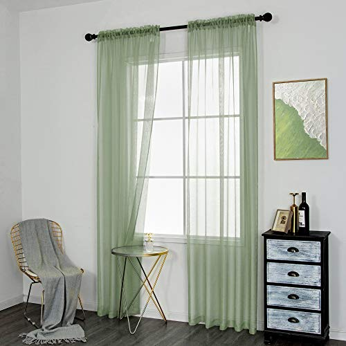 DUALIFE Sheer Green Curtains for Kids Girls Room 84 Inch Length Rod Pocket Sage Green Voile Window Curtain Panels Drapes for Bedroom and Living Room 2 Panels 52x84 Inches Long