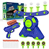 Shooting Games Toy for Age 4, 5, 6, 7, 8, 9+ Years Old Kids, Glow in The Dark Boys Toys Floating Ball Targets with Foam Dart Toy Blaster with10 Balls/ 5 Targets, Compatible with Nerf Toy Blaster Gift