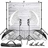 Julius Studio Wood Floor Backdrop with Umbrella Lighting Kit, 400W 5500K, 10ft Background Support Stand, Bulb, Socket, Spring Clamp, White & Black Umbrella Reflector, Photography Studio, JSAG355
