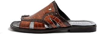 VITELO Men's Croc Print Thong Leather Mules M 38