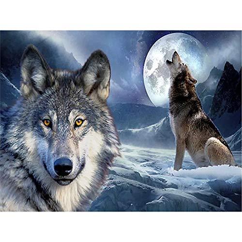 Lobo DIY 5D pintura de diamantes pinturas de diamantes de imitación redondos completos Animal bordado de diamantes punto de cruz mosaico decoración del hogar A16 40x50cm