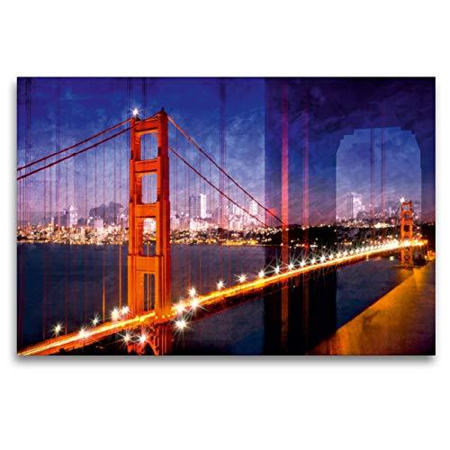 CALVENDO Premium Textil-Leinwand 120 x 80 cm Quer-Format SAN Francisco Skyline und Golden Gate Bridge, Leinwanddruck von Melanie Viola