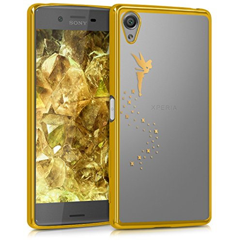 kwmobile Hülle kompatibel mit Sony Xperia X - Handyhülle - Handy Case Fee Gold Transparent